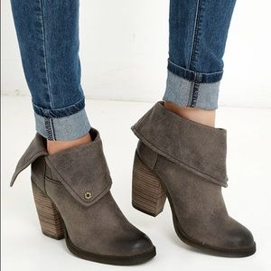 Sbicca Chord Fold Over Booties Boots Taupe Lulu's